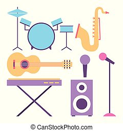 collection instruments musical equipment