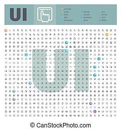 collection, interface, utilisateur, ligne, icônes, ...