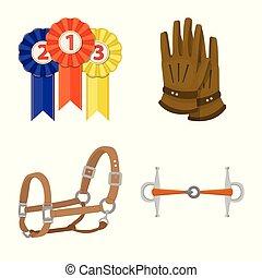 collection, isolé, stockage, objet, vecteur, cheval, symbole...