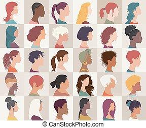 collection, isolated., filles, américain, caucasien, asiatique, diversité, ensemble, femmes, -, arabe, femme, portrait, nationalités, groupe multi-ethnique, différent, avatar, people.profile, headshot, africaine