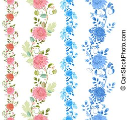 Collection isolated of seamless borders with lovely chrysanthemu
