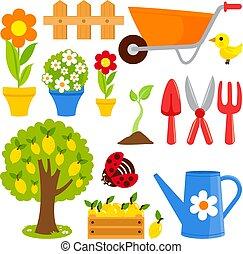 collection., jardinage, illustration, équipement