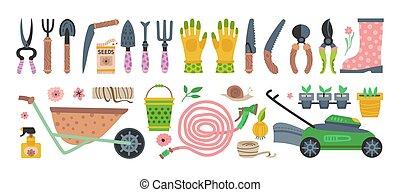collection, jardiner matériel, vecteur, plat
