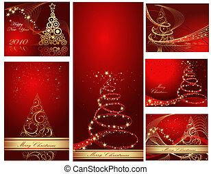 collection, joyeux, année, nouveau, noël, heureux