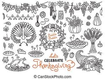 collection, maïs, dessins, laissons, turquie, célébrer, thanksgiving, -, doodles, isolé, set., jour, corne abondance, symboles, freehand, citrouille, wheat., tarte, traditionnel