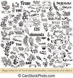 collection, main, catchwords, vecteur, sketched, rubans, doodles