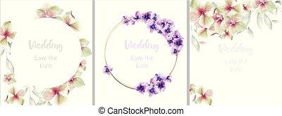 collection, mariage, cartes, watercolor., vecteur, decors, ...