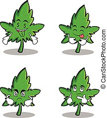 Collection marijuana character cartoon set