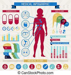 collection., medicinsk, infographic, elementara