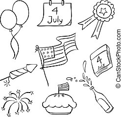 Collection memorial day doodle style
