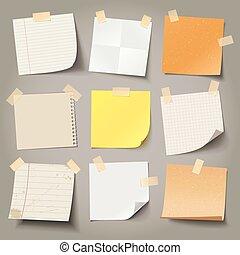 collection, message, prêt, note, papiers, divers, ton