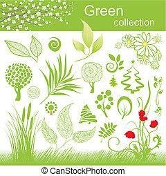 collection., mettez stylique, vert, elements.