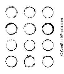 Collection modern grunge black circle frame. Grunge vignette set
