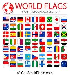 collection, mondiale, pays, qualité, ensemble, commandant, vecteur, élevé