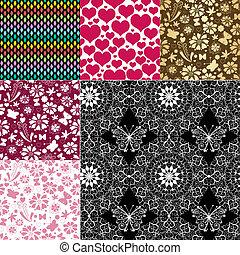 collection, motifs, seamless, coloré
