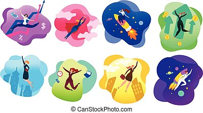 collection., mujer, vector, illustration., carácter, ...