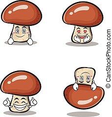Collection mushroom character cartoon set