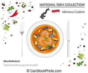 collection., national, monaco, isolé, traditionnel, soupe, infographic, cuisine., blanc, plat, moules, fish, européen