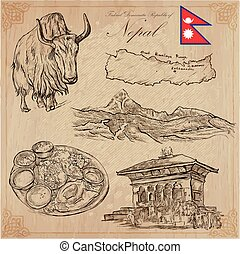 collection., nepal, -, travel., mano, drawings., vector, cuadros, life.