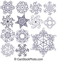 Collection new snowflakes