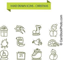 collection, noël, objet, icônes, vecteur