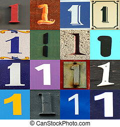 Collection numbers of 1 on different background