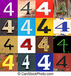 Collection numbers of 4 on different background