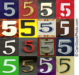 Collection numbers of 5 on different background