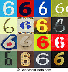 Collection numbers of 6 on different background