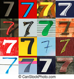 Collection numbers of 7 on different background