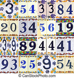 Collection numbers on tiles with flowers