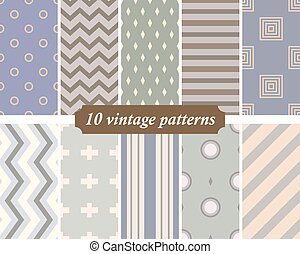 Collection of 10 seamless vintage patterns in the spirit of the 60s