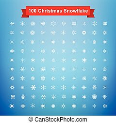 Collection of 100 Christmas snowflake vector illustration eps10