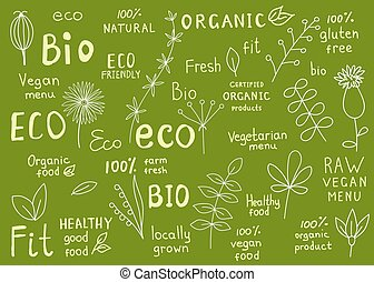 Collection of  100% organic, natural, bio, farm, eco, food labels.