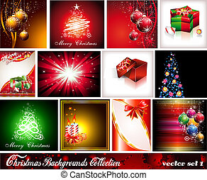 Collection of 12 Christmas Backgrounds - Set 1