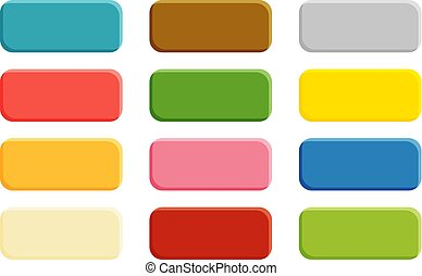 Collection of 12  isolated buttons with rounded corners