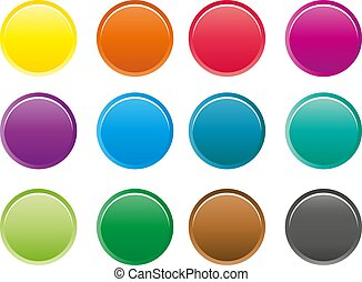 Collection of 12 isolated colorful round buttons