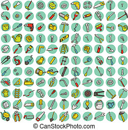 Collection of 121 tools doodled icons (vignette) with...