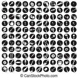 Collection of 121 tools doodled icons (vignette) on black background, in black-and-white. Individual illustrations are isolated and in eps8 vector mode.