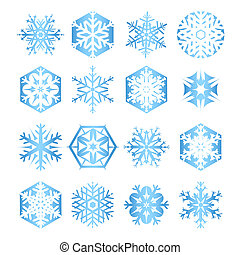 Collection of 16 blue snowflakes on white background