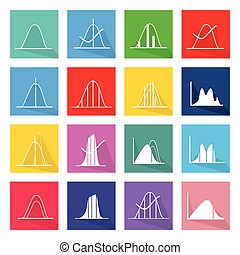 Collection of 16 Normal Distribution Curve Icons - Flat...