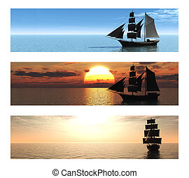 Collection of 3 banners with ships at sea. - A collection of...