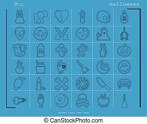 Collection of 36 halloween icons. Vector illustration in thin line style