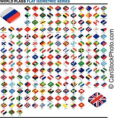 collection of 3d isometric flat style flags of the world