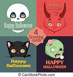 Collection of 4 cute Halloween greetings