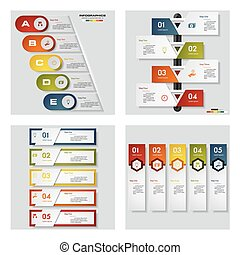 Collection of 4 design colorful presentation templates. Vector Background.