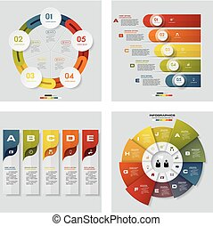 Collection of 4 design colorful presentation templates. Vector Background