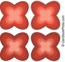 Collection of 4 flower like shapes in shades of red