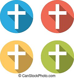 Collection of 4 isolated flat buttons (icons) with latin cross