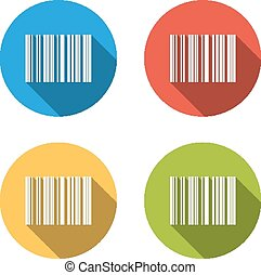 Collection of 4 isolated flat buttons (icons) for barcode